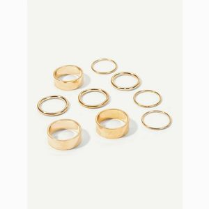 MILK + TEA Jewelry - Gold Midi and Knuckle Wide Ring Set
